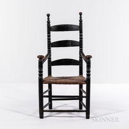 Black-painted Turned Slat-back Armchair