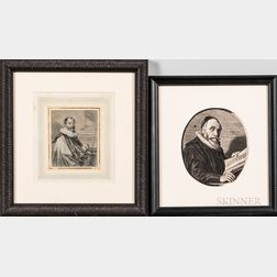Flemish, Dutch, and British Schools, 17th Century Four Small Portraits of Men on Paper: School of Anthony van Dyck (Flemish, 1599-1641)