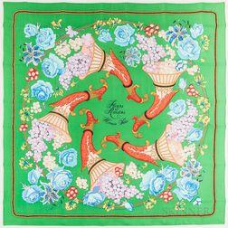 """Framed Hermes """"Fleurs et Raisins"""" Green Silk Scarf"""