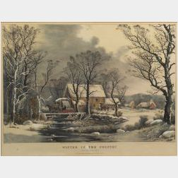 Currier & Ives, publishers  (American, 1857-1907)  WINTER IN THE COUNTRY:  The Old Grist Mill.