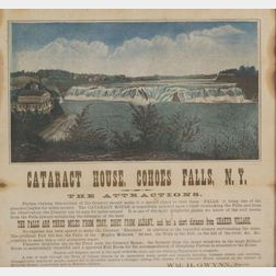 """""""CATARACT HOUSE, COHOES FALLS, N.Y."""" Framed Lithograph Broadside"""