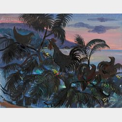 Lois Mailou Jones (American, 1905-1998)      Rooster at Sunset/A Haitian Scene