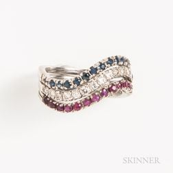 Three 18kt White Gold and Gemstone Stacking Rings