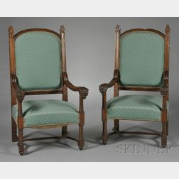 Pair of Victorian Gothic Revival Oak Armchairs