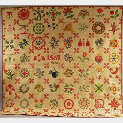 Pieced and Appliqued Cotton Album Quilt