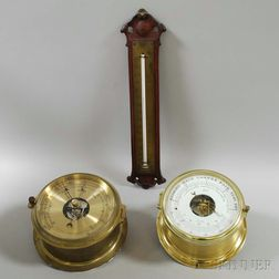 Two Brass-cased Aneroid Wall Barometers and a Thermometer