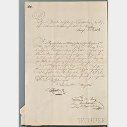 Metternich, Klemens (1773-1859) Document Signed, Vienna, 4 March 1845.