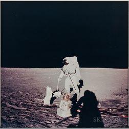 Apollo 12, Astronaut Alan L. Bean Deploys Components of the Apollo Lunar Surface Experiments Package (NASA AS12-47-6919), Novembe...