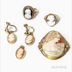 Group of Gold-filled Cameo Jewelry