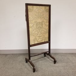 Regency Upholstered Mahogany and Silk Firescreen