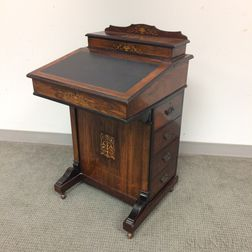 Victorian Inlaid Rosewood Davenport