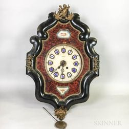 French Lacquered and Enameled Wood and Brass Wall Clock