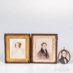 American School, Mid-19th Century      Three Miniature Portraits