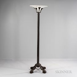 Alabaster and Wrought Iron Floor Lamp