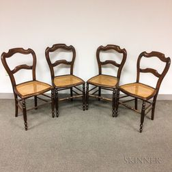 Set of Four French Provincial Walnut Caned-seat Side Chairs
