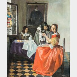Gertrude DiIorio Glick (American, 20th Century)      Copy after The Girl with the Wine Glass   by Johannes Vermeer