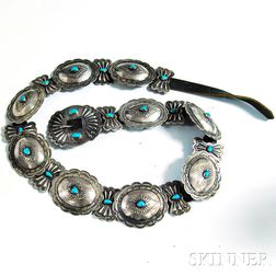Sterling Silver, Turquoise, and Leather Concha Belt