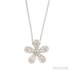 18kt White Gold and Diamond Flower Pendant