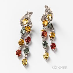 Pair of 18kt White Gold and Multicolored Sapphire Earrings