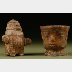 Two Polychrome Pottery Effigy Vessels