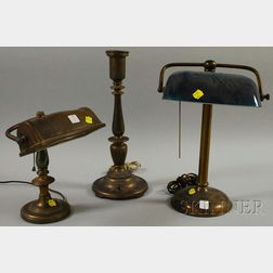 Two Metal Desk Lamps and a Miller Co. Metal Table Lamp Base