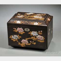 Japanned and Mother-of-pearl-inlaid Tea Caddy