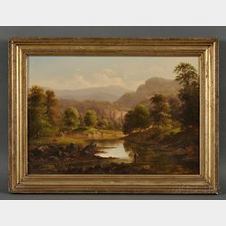 Attibuted to William Henry Titcomb (American, 1824-1888)      Mountain Landscape with Fisherman and Cattle.