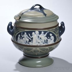 Mettlach Cameo Punch Bowl and Cover
