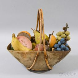 Carved Wooden Basket and Eight Pieces of Fruit