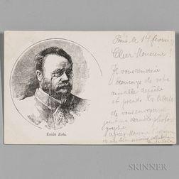 Zola, Emile (1840-1902) Autograph Postcard Signed 14 February 1898.