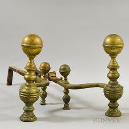 Pair of William Hunneman Brass Belted Ball-top Andirons