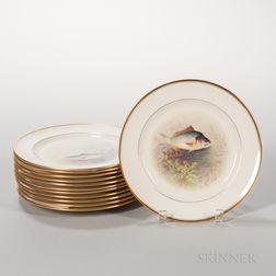 Twelve Lenox China Hand-painted Fish Plates