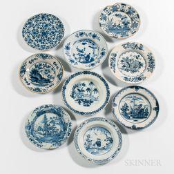 Nine English Delft Plates