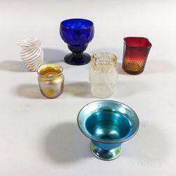 Tiffany Glass Toothpick Holder, a Steuben Blue Aurene Salt, and Four Others.     Estimate $250-350