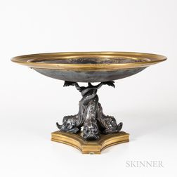 Silvered and Patinated Bronze Center Dish