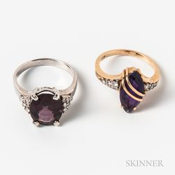 Two Gold and Amethyst Rings