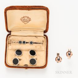Pair of 14kt Gold, Ruby, and Sapphire Cuff Links and a Krementz 14kt Gold and Onyx Dress Set