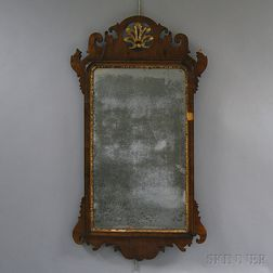 Queen Anne Carved Mahogany Veneer Scroll-frame Mirror