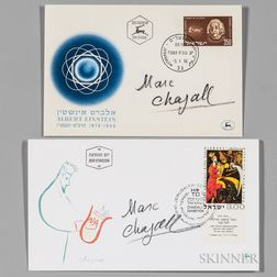 Chagall, Marc (1887-1985) Two Signed Israeli Covers: Albert Einstein, 1956; and King David, 1962.