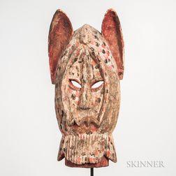 Large Dogon-style Polychrome Carved Wood Face Mask