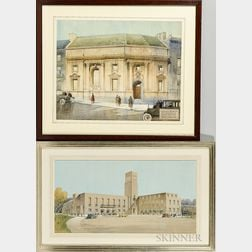 Cyril Arthur Farey (British 1888-1954)      Two Architectural Watercolor Renderings