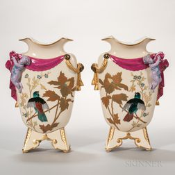 Pair of Porcelain Figural Vases