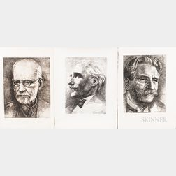 John Hansegger (American, 1908-1989)      Ten Portrait Etchings: Sigmund Freud ;  Dr. Albert Schweitzer
