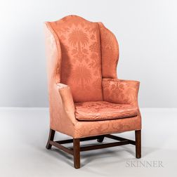 Chippendale Upholstered Mahogany Easy Chair
