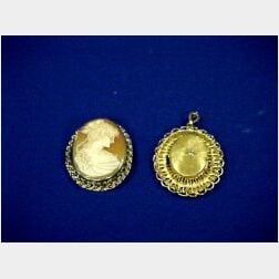 Cameo Brooch and a 14kt Gold Watch/Pendant.