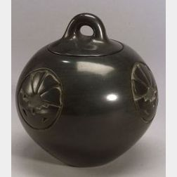 Southwest Carved Pottery Jar with Lid
