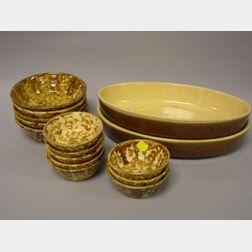 Thirteen Bennington-type Bowls and Two Oblong Casserole Dishes.