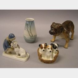 Royal Doulton Porcelain Puppies in Basket and Bulldog Figurals, Bing & Grondahl Landscape Decorated Porcelain Vase and Girl with Dog Fi