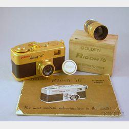 """Golden Ricoh """"16"""" Subminiature Camera No. 10717"""
