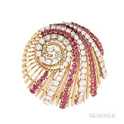18kt Gold, Ruby, and Diamond Clip Brooch